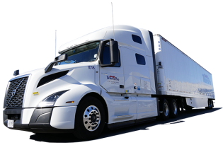 Image of a white Volvo transport truck